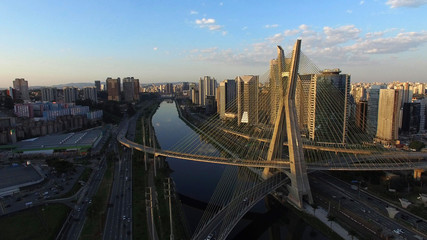 Aerial Shot of the Ponte Estaiada and Skyscrapers in Sao Paulo, Brazil
