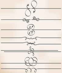 set of eight calligraphic design elements, vector line dividers, decorative page borders on vintage background