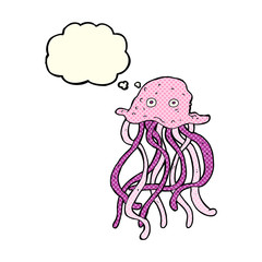 cartoon octopus with thought bubble