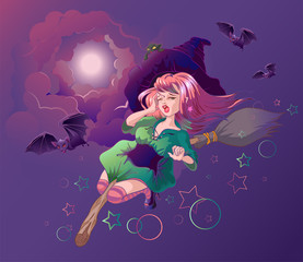 Beautiful witch woman flying on broomstick. Halloween night