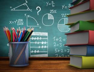 Composite image of school supplies
