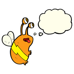 cartoon funny bee with thought bubble