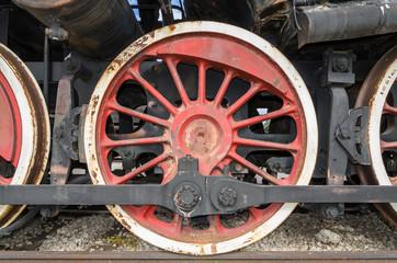 Togliatti, RUSSIA, wheel of a steam engine locomotive