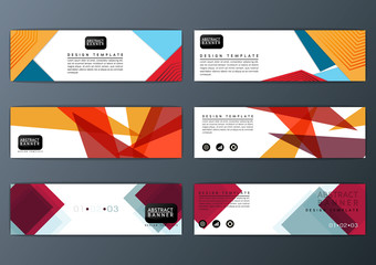Abstract colorful polygon banner, design template, big set