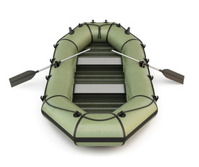 Green inflatable rubber boat