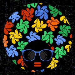 Black head woman in retro glasses.