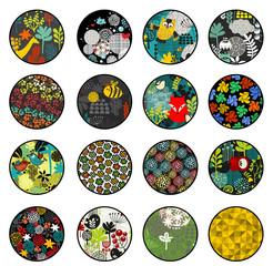 Big set of balls with print patterns.