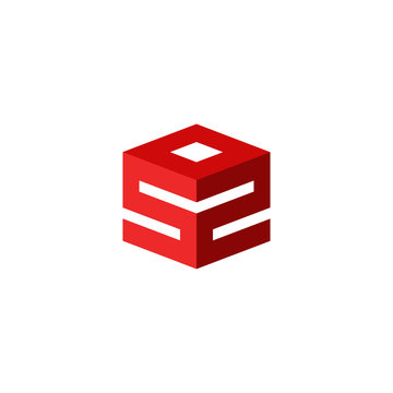 Emergency logo, sos icon, international rescue sign, abstract 3d cube geometric shape