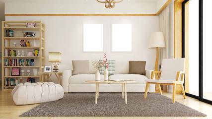 Wohnzimmer mit leeren Rahmen an Wand