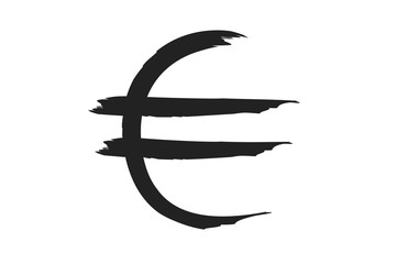euro sign in paint strokes