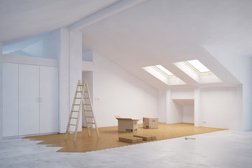 Obraz Ausbau vom Dachboden mit Parkett - fototapety do salonu