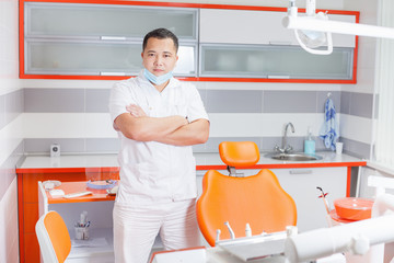 Successful dentist doctor at stomatological clinic.
