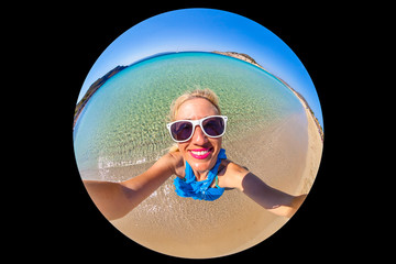 Paradise beach selfie Wall mural
