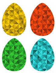 Set of retro eggs made of triangles.