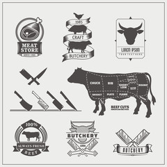 American cuts of beef. Vector set of beef logos, labels, knives and design elements.