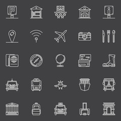 Travel white icons set