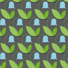 Blue bells seamless pattern. Flowers Vector background. Retro fa