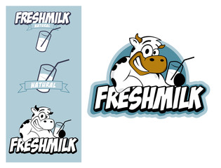 Logo design element Cow Fresh Milk