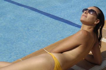 pool girl enjoying a summer