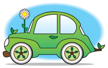 Environmentally friendly green car ready to roll