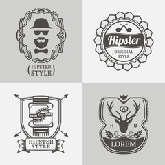 Vintage hipster labels and logos set. Retro style. Vector design elements.