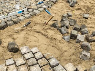 Steine verlegen Pflastersteine