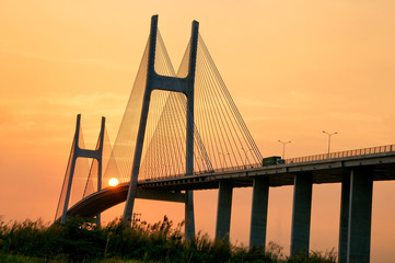 Phu My brigde at sunset. This is the important bridge linking district 2 and district 7 in Ho Chi Minh city, Vietnam