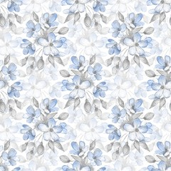 Seamless pattern with delicate flowers. Watercolor background 7