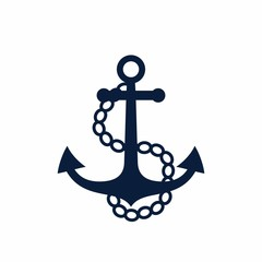Old anchor with chains. Vector illustration.