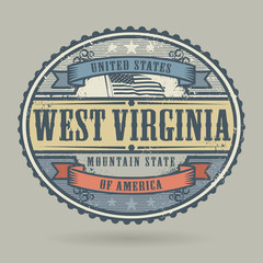 Stamp with the text United States of America, West Virginia