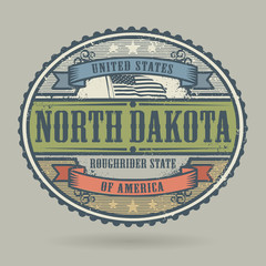 Stamp with the text United States of America, North Dakota