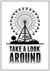 Silhouette of a ferris wheel at the park. Typography card vector