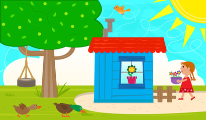 Small Garden Shed - Cute garden with blue shed, tree and a tire swing, ducks, bird and a little girl carrying a pot with flowers. Eps10