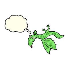 cartoon little dragon with thought bubble