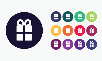 Gift box icon. Vector set 6