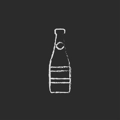 Glass bottle icon drawn in chalk.