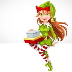 Cute girl Santa elf with gifts sit on white banner