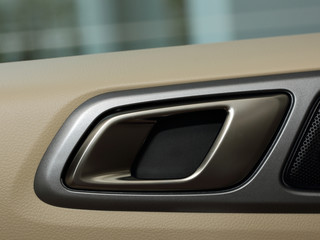 Car door handle closeup view