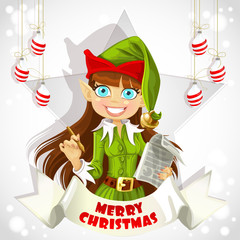 Cute Elf hold Christmas poster