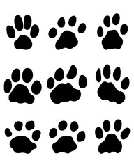 Black print of jaguar paw, vector 2