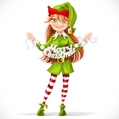 Cute girl elf with the words Merry Christmas garland