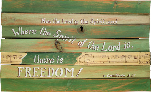 2 Corinthians 3:17 hand painted on wooden shim canvas