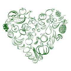 Heart from food fruits and vegetables icon  sketch vector illustration