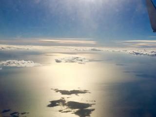 Sombras de las nubes en el mar