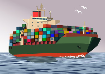 Container ship, vector illustration