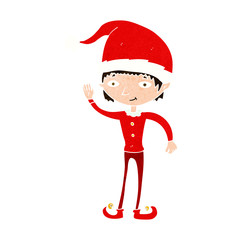 cartoon waving christmas elf