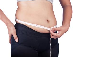 women measuring belly fat itself