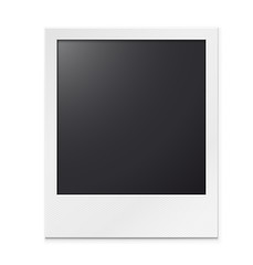 Photo frame on a white background with a realistic texture of paper and shadow.
