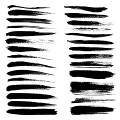 Big set of long texture of dry brush strokes of black paint