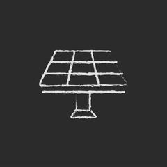 Solar panel icon drawn in chalk.